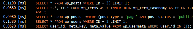 Debug Bar SQL